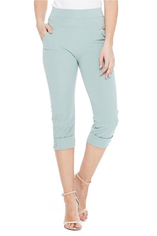 High-rise solid fitted capri pants  - orangeshine.com