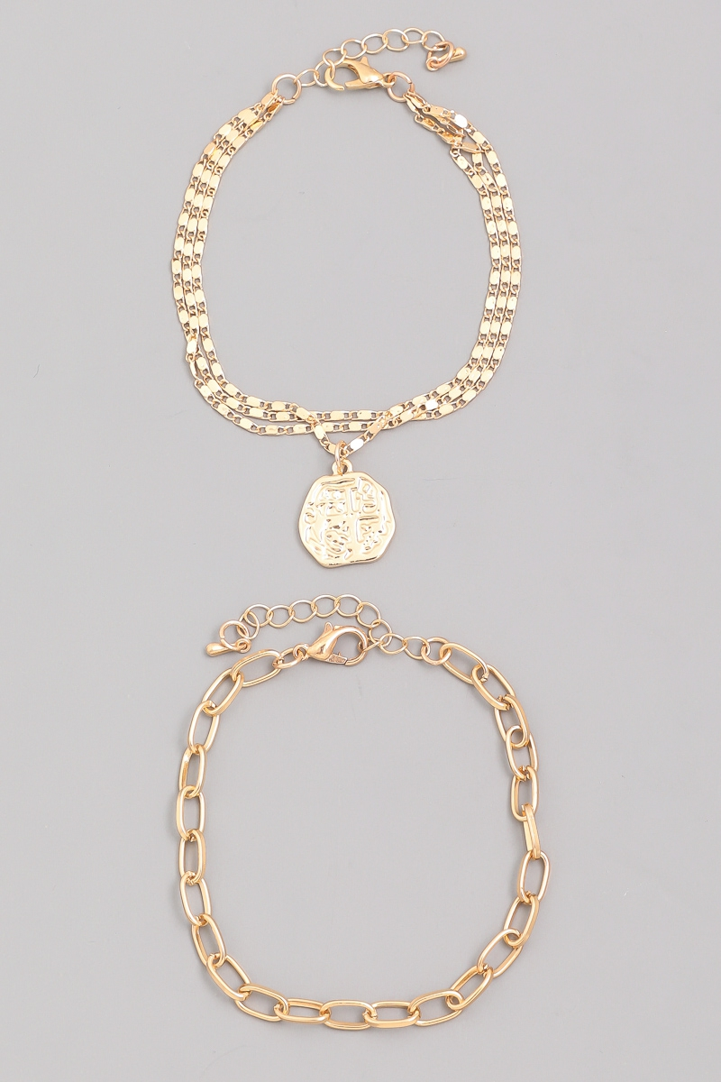 Chain Coin Bracelet Set - orangeshine.com