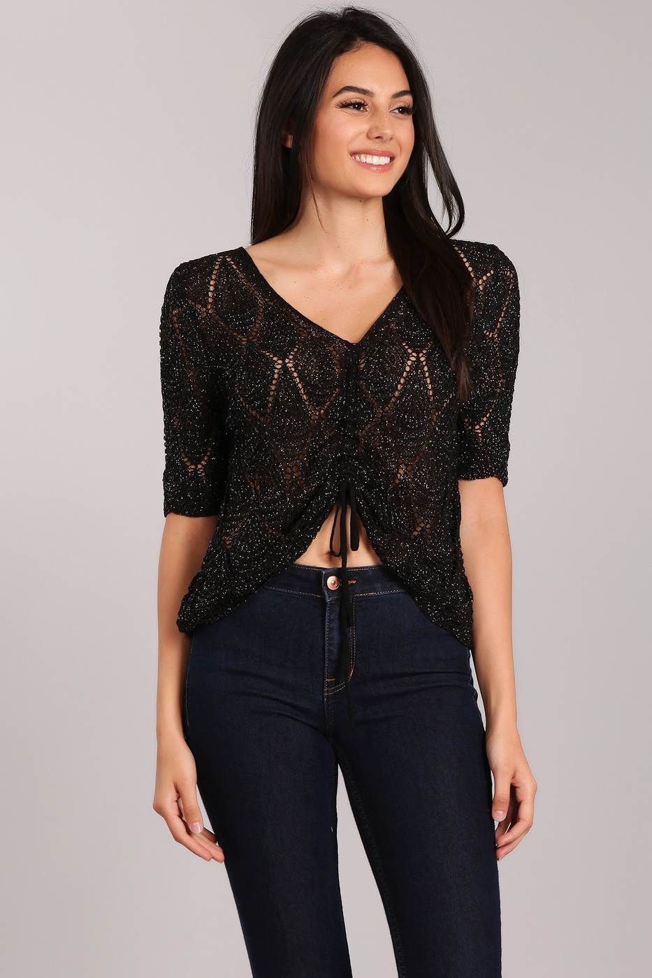 Glitter Knit Crop Top - orangeshine.com