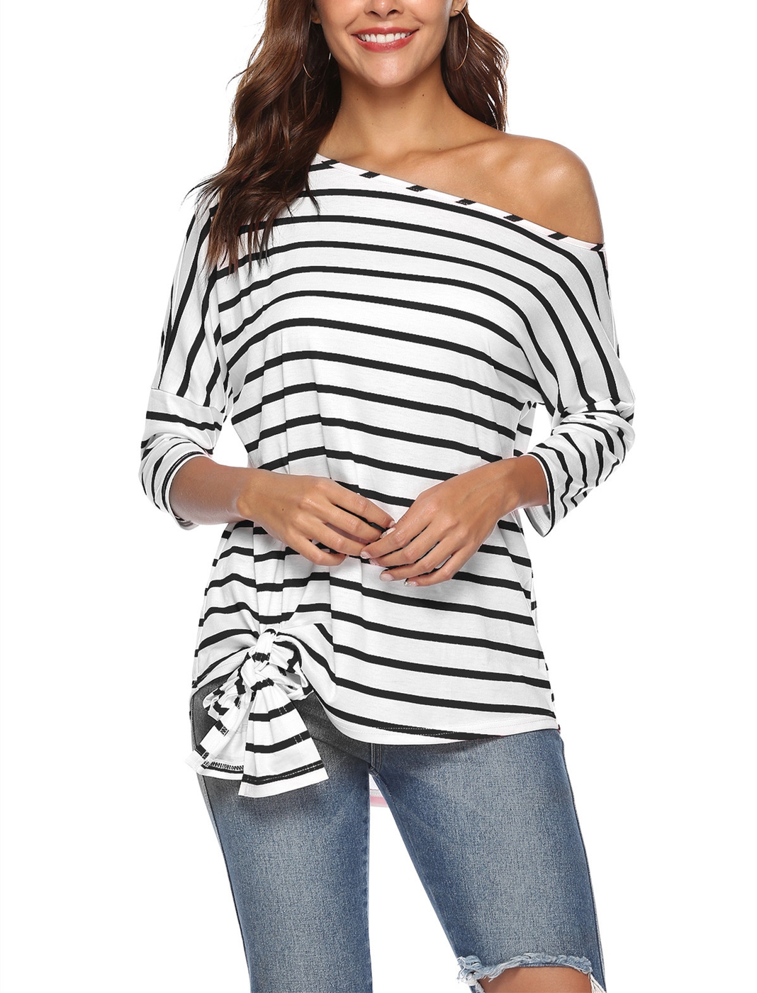 Boat Neck Striped Long Sleeve Top - orangeshine.com