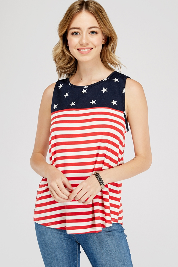 4TH OF JULY COLOR BLOCKED TANK TOP - orangeshine.com