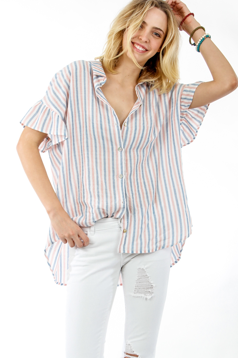 Button down striped top with collar  - orangeshine.com