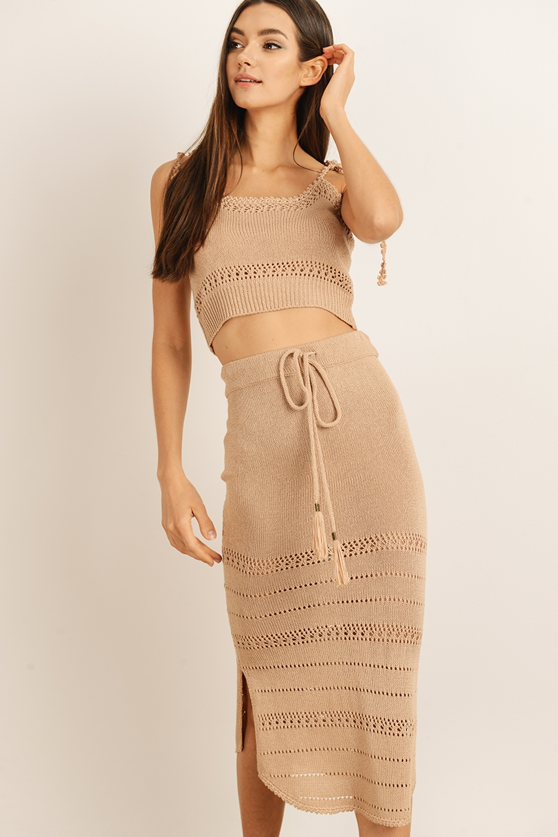 Solid high waisted knit maxi skirt - orangeshine.com