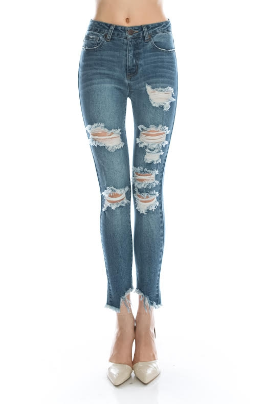 DISTRESSED HIGH RISE ANKLE SKINNY - orangeshine.com