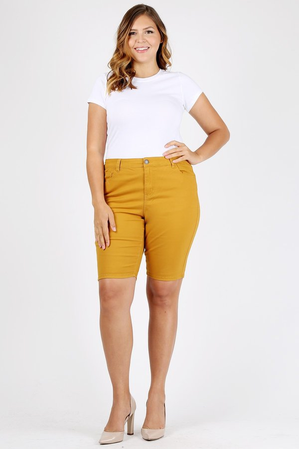 Plus Size colored twill Bermuda pant - orangeshine.com