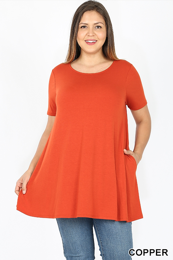 PLUS BOAT NECK FLARED TOP-POCKETS  - orangeshine.com
