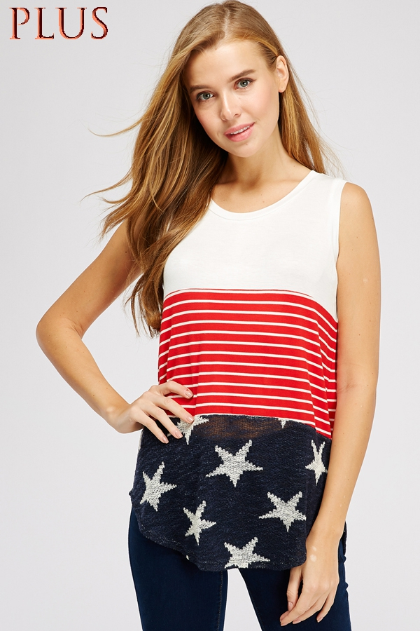 4TH OF JULY COLOR BLOCK TANK TOP - orangeshine.com