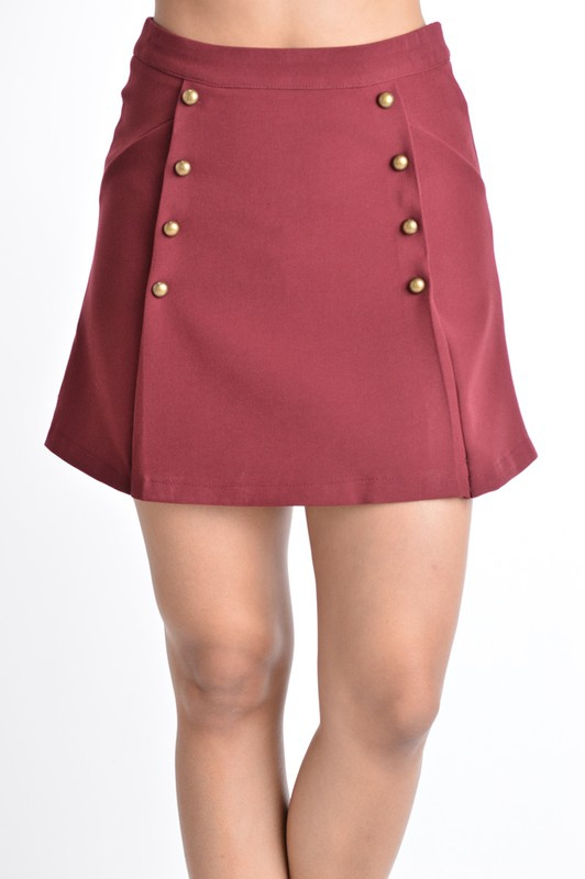 Buttoned Knit A-Line Mini Skirt  - orangeshine.com