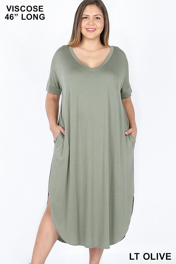 PLUS SHORT SLEEVE ROUND HEM DRESS - orangeshine.com