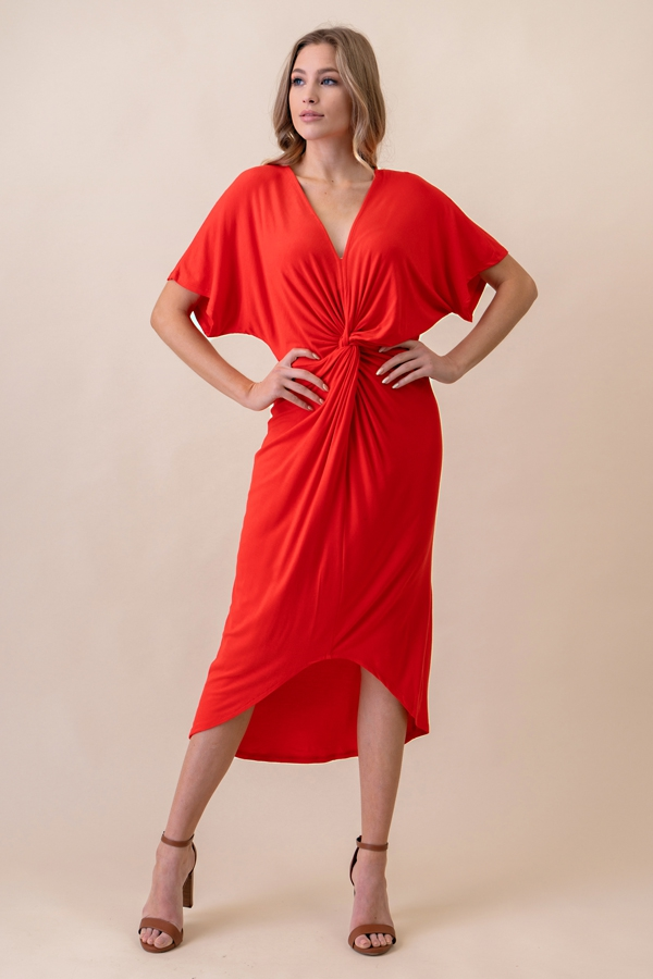 Twisted Front Hi Lo Midi Dress - orangeshine.com