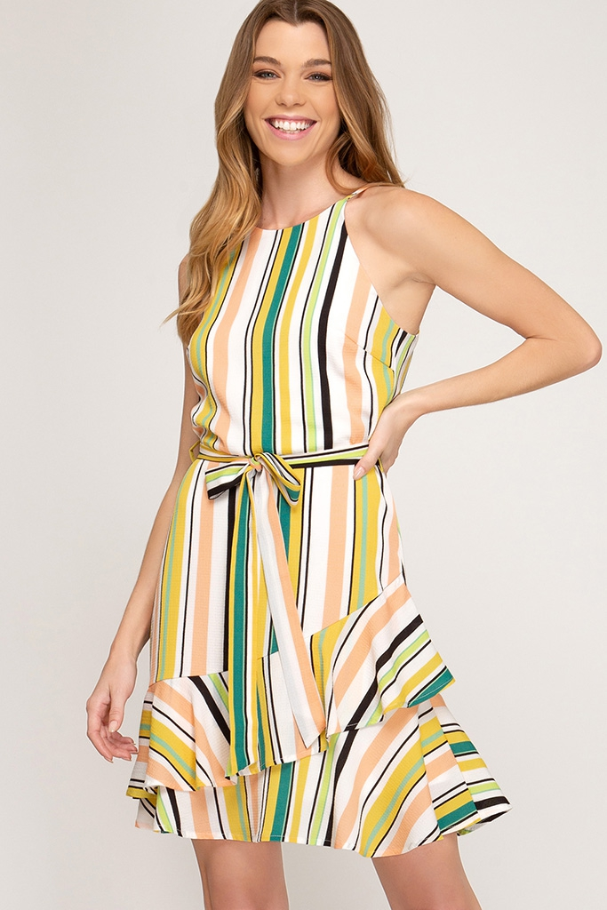 SLEEVELESS STRIPED DRESS - orangeshine.com