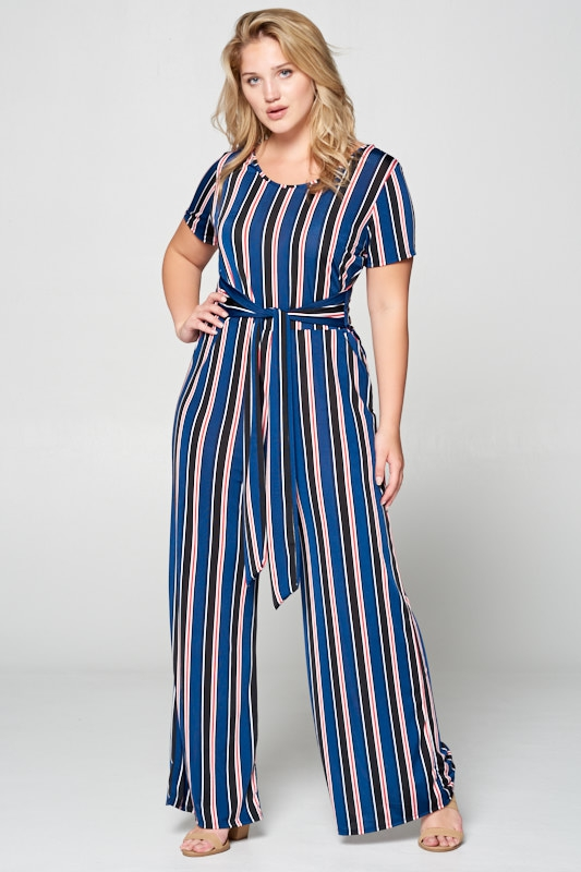 STRIPE KNIT JUMPSUIT - orangeshine.com