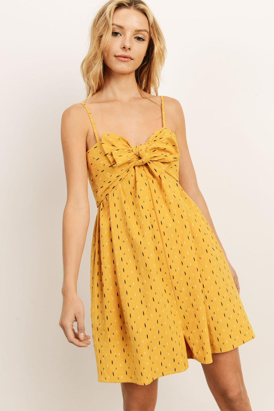 RIBBON FRONT YELLOW ROMPER - orangeshine.com