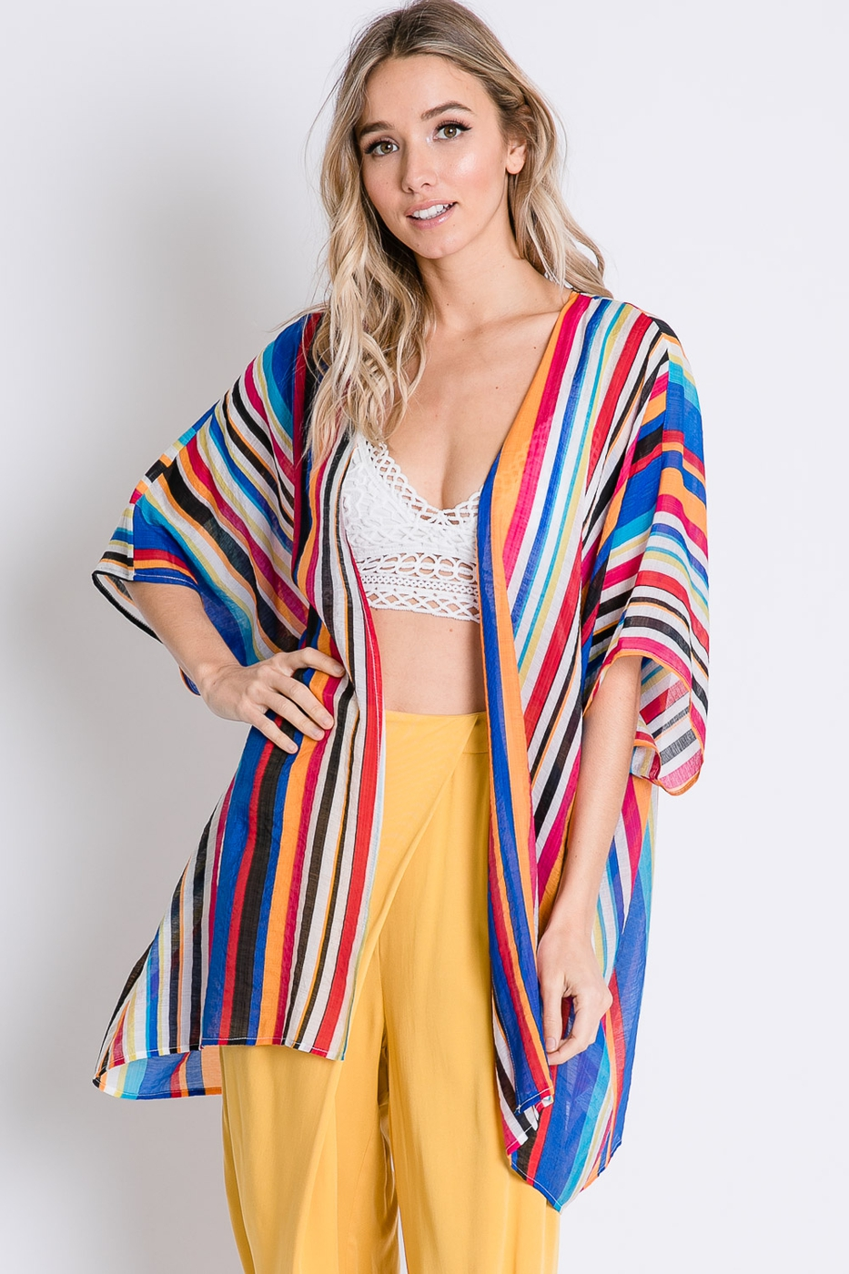 VIVID STRIPED SHEER KIMONO CARDIGAN - orangeshine.com