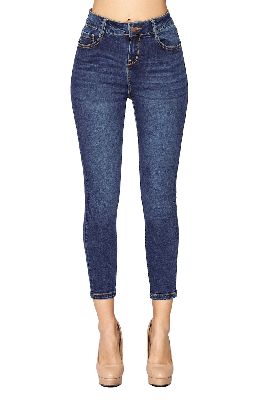 High Rise Solid Skinny Ankle Jeans - orangeshine.com