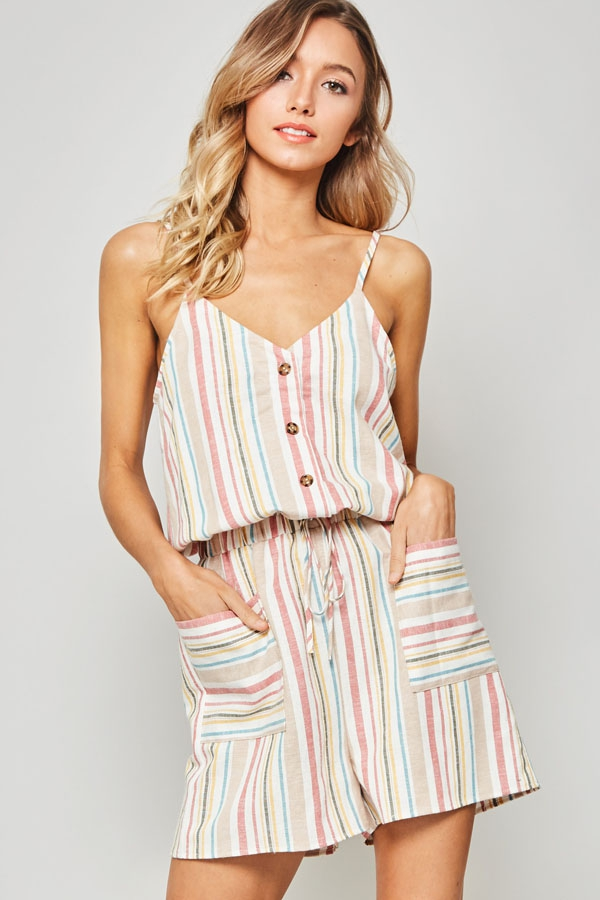 Multi-Stripe Button-Front Romper - orangeshine.com