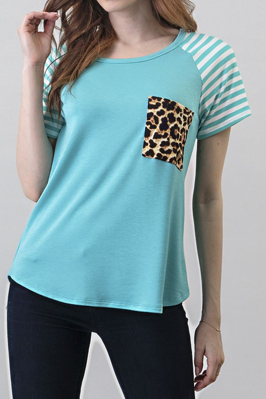 Leopard Print  Raglan Striped top - orangeshine.com