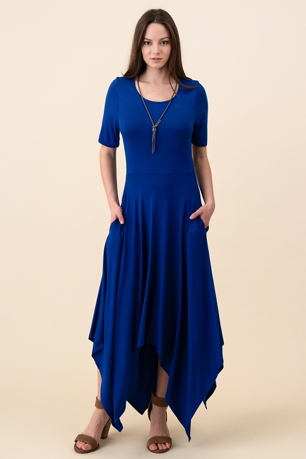 Short Hanky Hem Maxi Dress Pocket - orangeshine.com