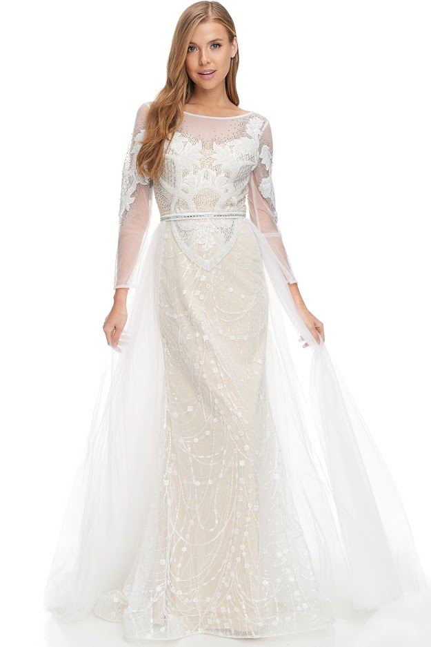 Long Sleeve Bridal Dress - orangeshine.com