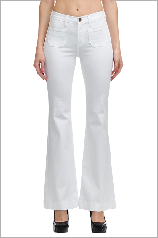 WHITE FUN PATCH POCKET FLARE JEANS - orangeshine.com