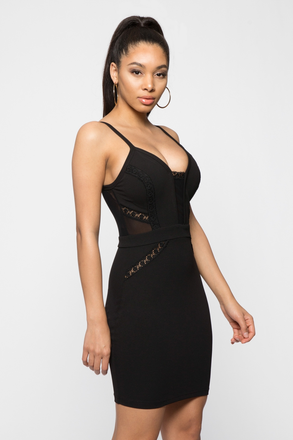 LACE AND MESH INSERT PLUNGE BODYCON - orangeshine.com