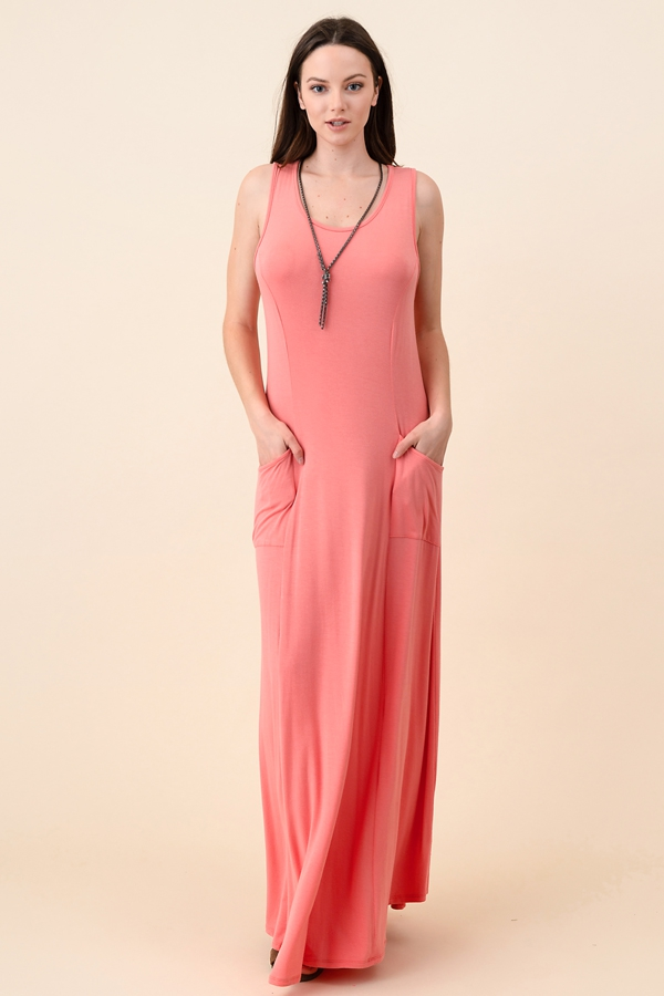 Flowy Maxi Tank Dress with Front Poc - orangeshine.com