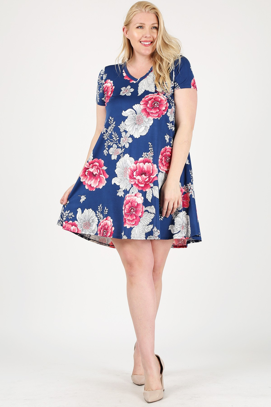Plus Size Floral Short Sleeve Dress - orangeshine.com