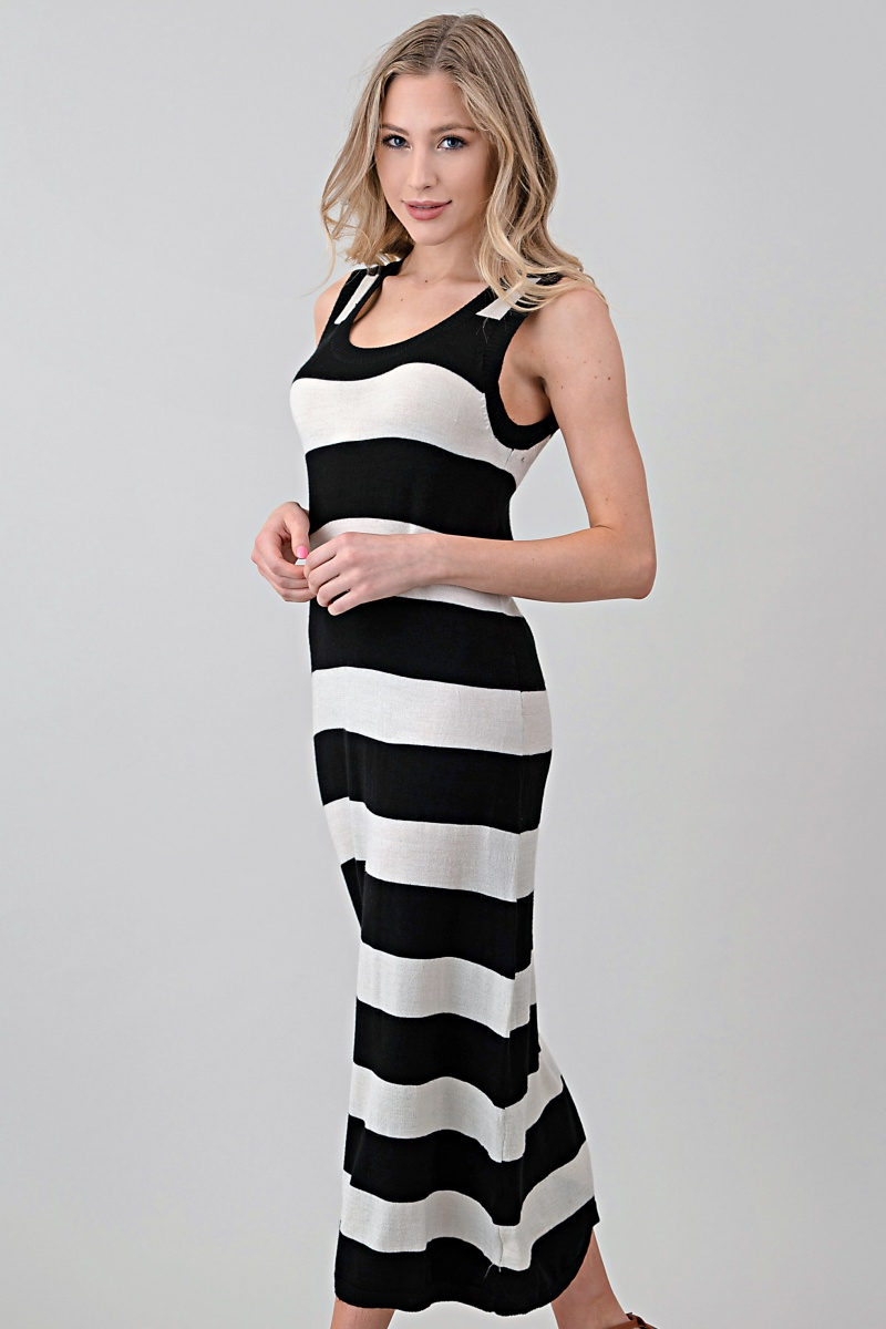 Sleeveless Knit Dress in Stripe - orangeshine.com