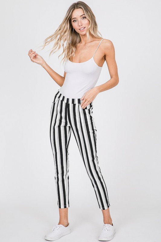 STRIPE PRINT PANTS WITH SIDE POCKETS - orangeshine.com