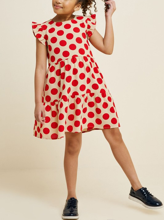 Kids Polka-Dot Ruffle Sleeve Dress - orangeshine.com