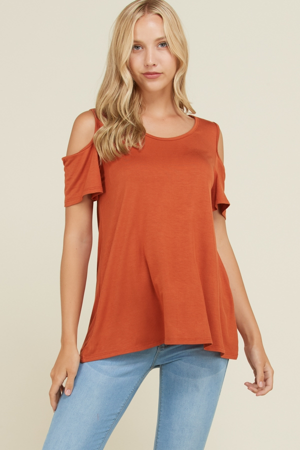 Solid Cold Shoulder Short Sleeve Top - orangeshine.com