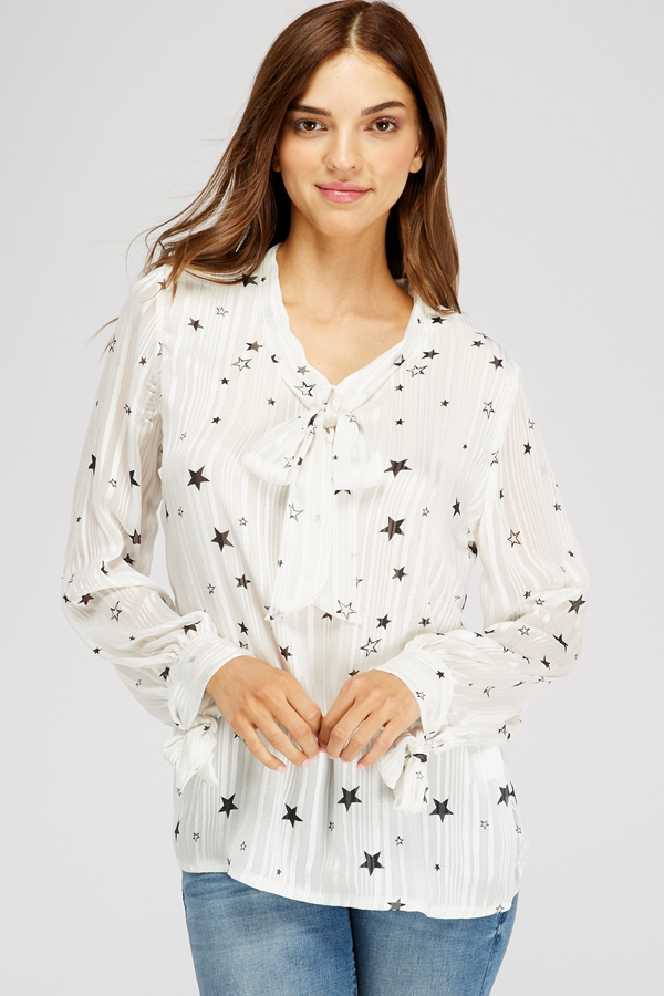 Star Print Tie V-neck Pleated Blouse - orangeshine.com