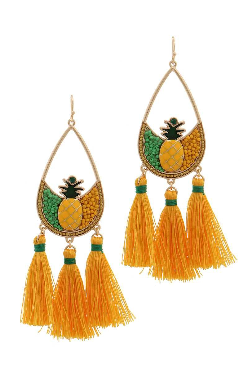 PINEAPPLE SEED BEAD TASSEL DROP EARR - orangeshine.com