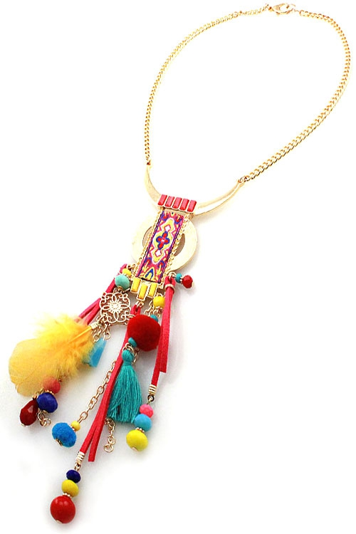 Pom Pom Tassel Pendant Necklace Set - orangeshine.com
