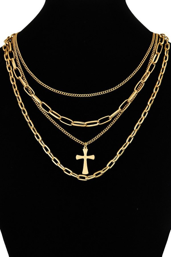 Multi-chain layered necklace with a  - orangeshine.com