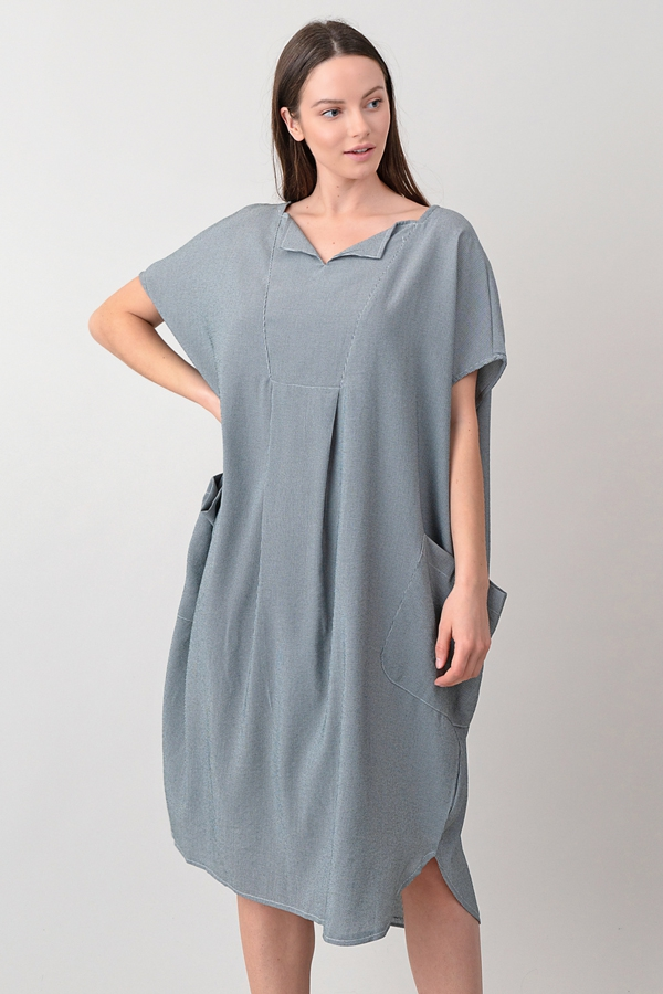 Oversized Shift Dress with Pockets - orangeshine.com