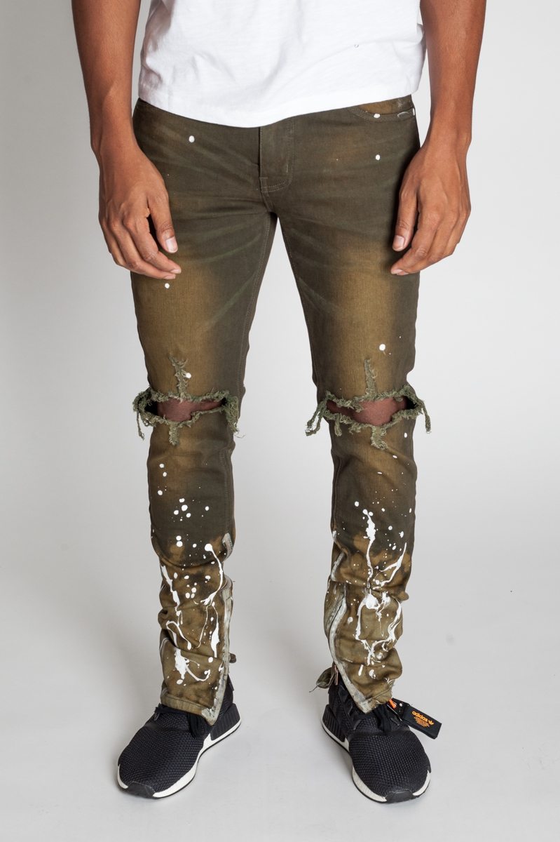 PAINT SPLATTER ANKLE ZIP JEANS - orangeshine.com
