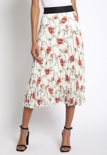 GOLD CHAIN PRINT PLEATED MIDI SKIRT - orangeshine.com