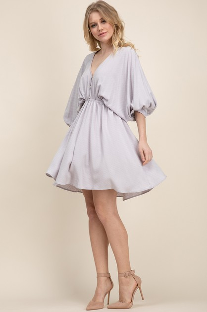RAYON JACQUARD BABYDOLL SWING DRESS - orangeshine.com