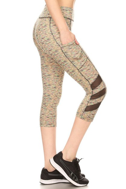 Mesh Sport Capri Leggings Yoga Pants - orangeshine.com
