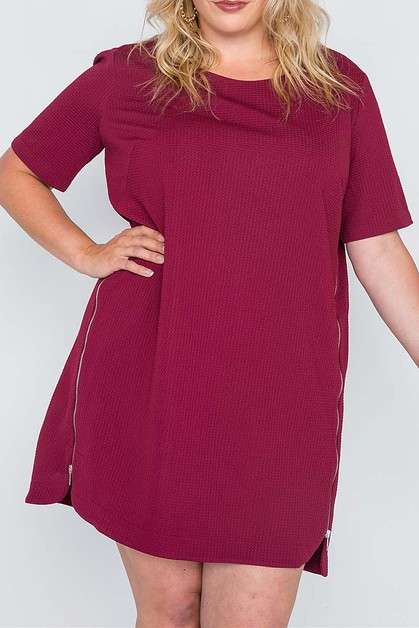 ZIPPERED SIDE TEXTURE PLUS DRESS - orangeshine.com