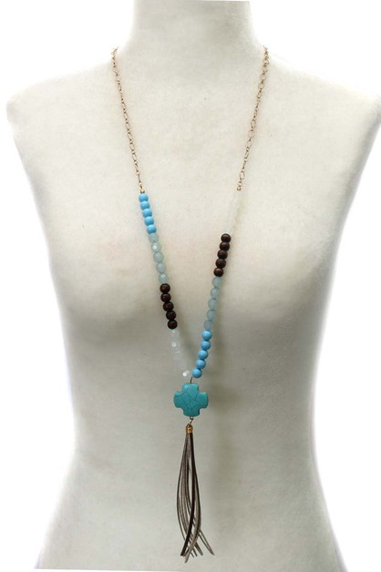 NATURAL STONE TASSEL NECKLACE - orangeshine.com