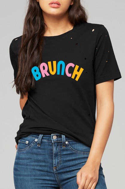 BRUNCH PRINTED DISTRESSED TEE - orangeshine.com