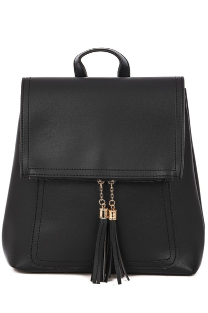 Tassel Charm Flap Backpack - orangeshine.com