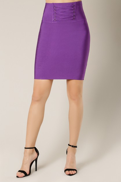 Lattice Waist Bandage Pencil Skirt - orangeshine.com