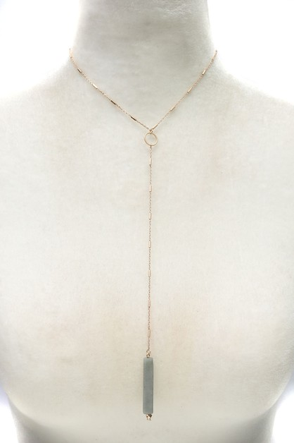 SQUARE NATURAL STONE NECKLACE   - orangeshine.com