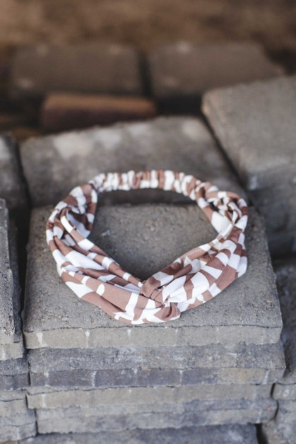 Taupe Zebra Cotton Headband - orangeshine.com