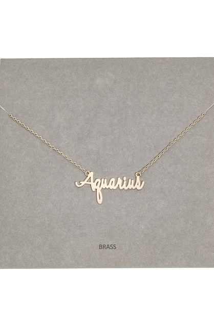 12 Zodiac Dainty Text Signs Necklace - orangeshine.com