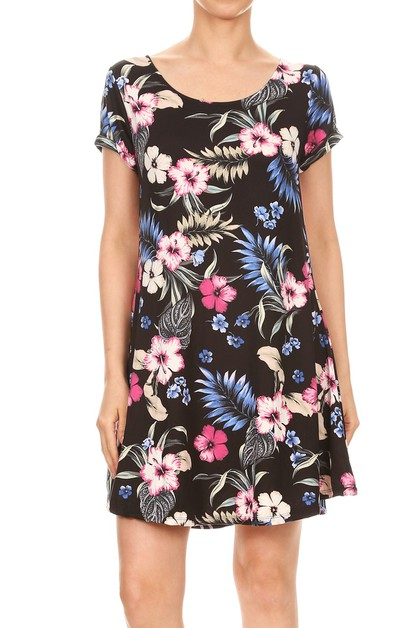 Tropical Floral print Black Dress  - orangeshine.com