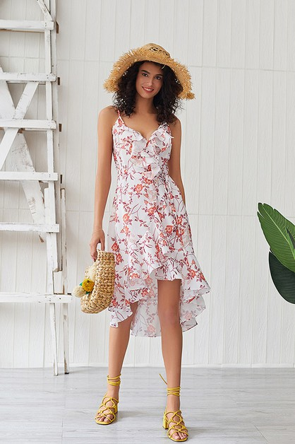 Ruffled Hi Low Dress - orangeshine.com